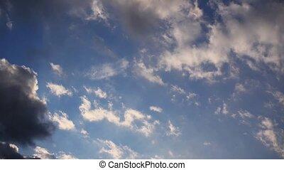 bonito, céu, nuvens, pôr do sol, tempo-lapso