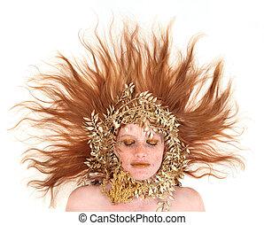 bonito, cabeça vermelha, mulher, com, bronze, extremo, maquilagem