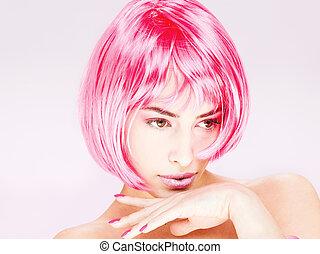 bonito, cabelo cor-de-rosa, mulher