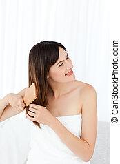 bonito, cabelo escovando, mulher, dela