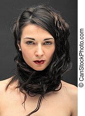 bonito, cabelo longo, morena, retrato mulher