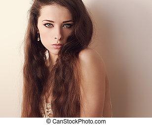 bonito, cabelo longo, mulher olha, sexy., closeup, retrato