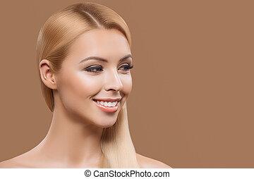 bonito, cabelo longo, retrato, loiro, menina
