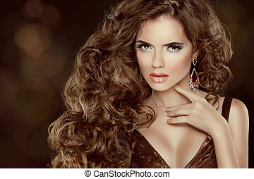 bonito, cabelo marrom, moda, mulher, portrait., beleza, modelo, menina, com, luxuoso, ondulado, cabelo longo, isolado, ligado, experiência escura