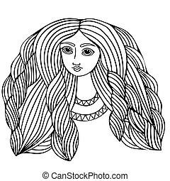 bonito, cabelo, menina, jovem, longo