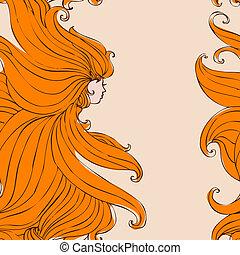 bonito, cabelo, menina, seamless