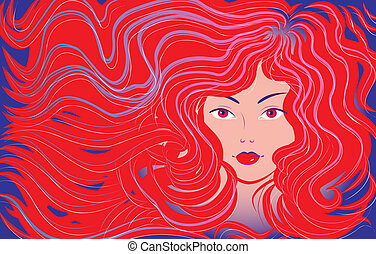 bonito, cabelo, mulher, fluir