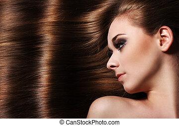 bonito, cabelo, mulher, jovem