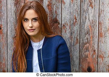 bonito, cabelo, mulher, jovem, vermelho