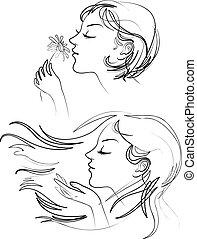 bonito, cabelo, mulher, longo