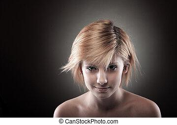 bonito, cabelo, mulher, loura