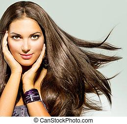 bonito, cabelo, mulher, soprando, longo