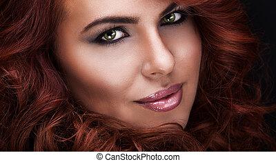 bonito, cabelo, mulher, vermelho