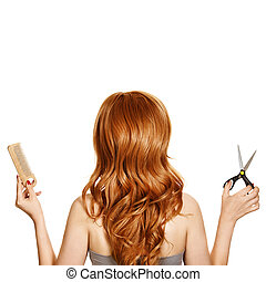 bonito, cabelo ondulado, e, hairdresser's, ferramentas