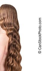 bonito, cabelo ondulado, isolado, branco, fundo