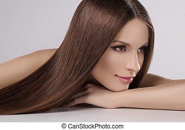 bonito, cabelo, pensativo, cinzento, beauty., afastado,...
