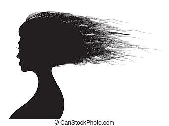 bonito, cabelos, mulher, silueta, ilustração