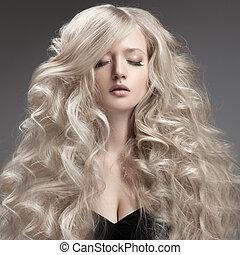 bonito, cacheados, cabelo longo, loura, woman.