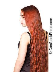bonito, cacheados, cabelo longo, menina, vermelho