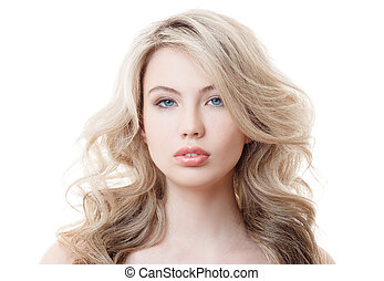 bonito, cacheados, saudável, longo, girl., hair., loiro