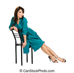 bonito, cadeira, assento mulher