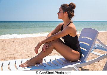 bonito, cadeira, praia, menina, mentindo