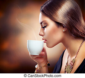 bonito, café, menina, chá, bebendo, ou