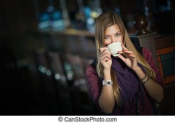 bonito, café, mulher, copo, jovem, café