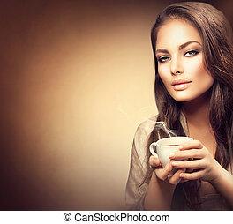 bonito, café, mulher, jovem, quentes, bebendo