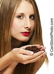 bonito, café, mulher segura, dela, feijões, fundo, mãos, branca