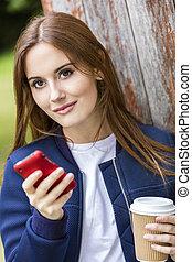 bonito, café, mulher, texting, jovem, bebendo, menina