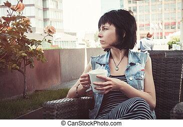 bonito, caffee, mulher
