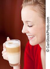 bonito, caffee, mulher, desfrutando, latte