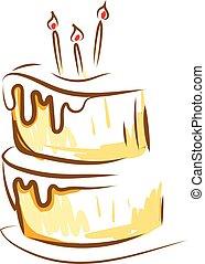 bonito, camadas, cor, velas, baunilha, ilustração, desenho, glowing, vetorial, bolo, quadro, ou