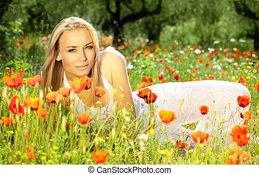 bonito, campo, flor, deitando, femininas