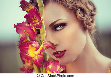 bonito, campo, mulher, flor