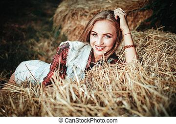 bonito, campo, mulher