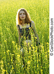 bonito, campo, mulher, jovem
