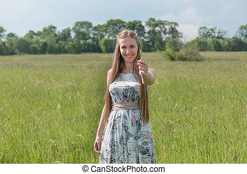 bonito, campo, mulher, loura, retrato