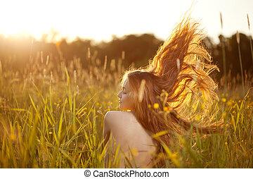bonito, campo, mulher sorridente