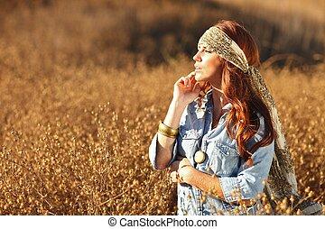 bonito, campo, mulher, verão