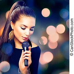 bonito, cantando, girl., beleza, mulher, com, microfone