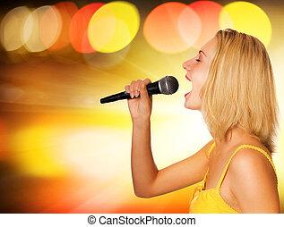 bonito, cantor, abstratos, fundo, jovem