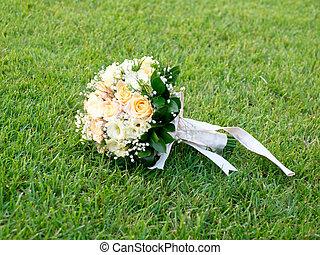 bonito, capim, buquet, isolado, casório, flores