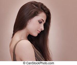 bonito, cara fêmea, perfil, com, longo, hair., retrato arte
