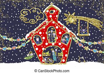 bonito, card., cena, natividade, igreja, xmas