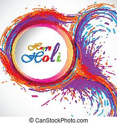 bonito, cartão, holi, festival, celebração, coloridos, fundo