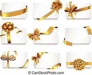 bonito, cartões, ouro, bows.