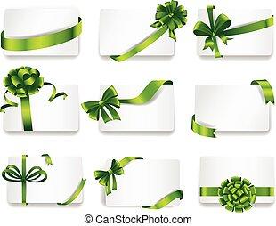 bonito, cartões, verde, bows., presente