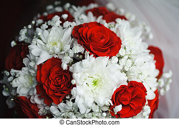 bonito, casório, flores, de, rosas, e, crisântemo